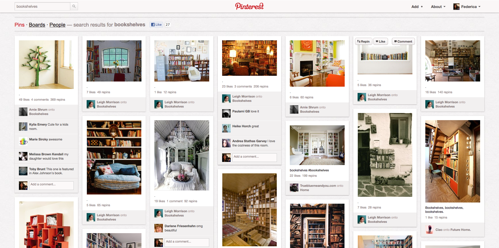 "I risultati di una ricerca con keyword ""bookshelves"" http://pinterest.com/search/?q=bookshelves"